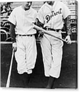 Hank Greenberg And Lou Gehrig Canvas Print
