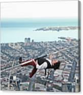 High-wire Artist Kane Petersen Performs Tightrope Walk Over Melbourne CBD Canvas Print