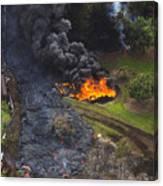 Homes In Pahoa, Hawaii Threatened By Lava Flow From Kilauea Volcano Canvas Print