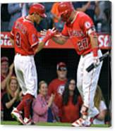 Ian Kinsler and Mike Trout Canvas Print