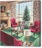 Illustration Of A Christmas Living Room Scene Canvas Print