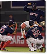 Jackie Bradley, Chris Young, And Mookie Betts Canvas Print