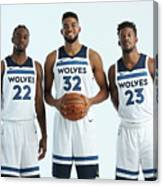 Jimmy Butler and Andrew Wiggins Canvas Print