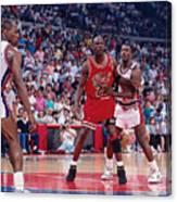 Joe Dumars and Michael Jordan Canvas Print