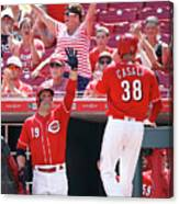 Joey Votto and Wade Davis Canvas Print