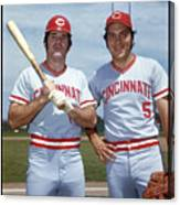 Johnny Bench and Pete Rose Canvas Print