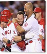 Johnny Giavotella, Albert Pujols, and Daniel Nava Canvas Print
