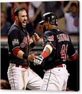 Jon Lester, Carlos Santana, and Jason Kipnis Canvas Print