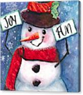 Joyful and Fun Snowman Canvas Print