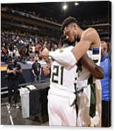 Jrue Holiday and Giannis Antetokounmpo Canvas Print