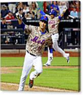 Juan Lagares And Ruben Tejada Canvas Print