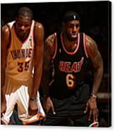 Kevin Durant and Lebron James Canvas Print