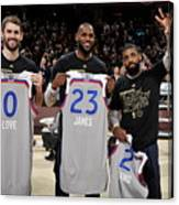 Kevin Love, Kyrie Irving, and Lebron James Canvas Print