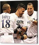 Khris Davis, Wily Peralta, and Yovani Gallardo Canvas Print
