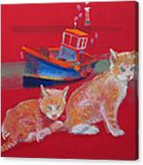 Kittens With Boat Canvas Print