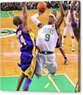 Kobe Bryant and Rajon Rondo Canvas Print