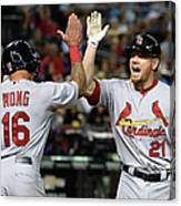 Kolten Wong and Brandon Moss Canvas Print