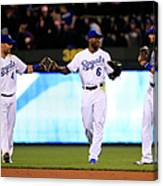 Lorenzo Cain, Alex Gordon, and Paulo Orlando Canvas Print