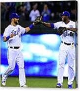 Lorenzo Cain and Alex Gordon Canvas Print