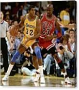 Magic Johnson and Michael Jordan Canvas Print