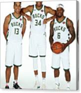 Malcolm Brogdon, Giannis Antetokounmpo, and Eric Bledsoe Canvas Print