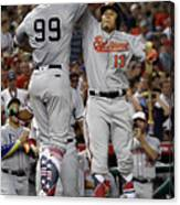 Manny Machado And Aaron Judge Canvas Print