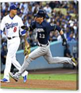 Manny Machado, Christian Yelich, and Lorenzo Cain Canvas Print
