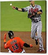 Marcell Ozuna And Jace Peterson Canvas Print