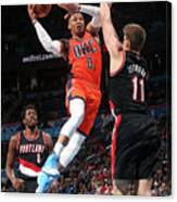 Meyers Leonard and Russell Westbrook Canvas Print