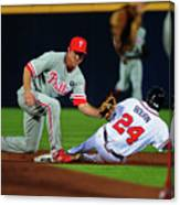 Michael Bourn and Chase Utley Canvas Print