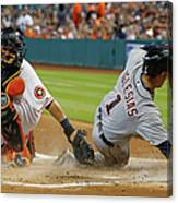 Miguel Cabrera and Hank Conger Canvas Print