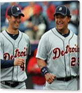 Miguel Cabrera and Rick Porcello Canvas Print