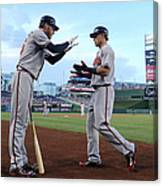 Mike Foltynewicz And Jace Peterson Canvas Print