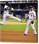 Mike Moustakas and Alcides Escobar Canvas Print