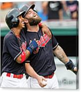 Mike Napoli, Lonnie Chisenhall, and Francisco Lindor Canvas Print