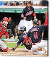 Mike Napoli, Lonnie Chisenhall, and Jett Bandy Canvas Print