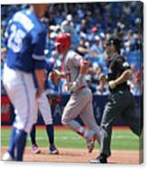 Mike Trout And Marco Estrada Canvas Print