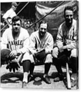 Miller Huggins, Lou Gehrig, and Babe Ruth Canvas Print