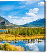 Minnewanka lake in Canadian Rockies in Banff Alberta Canada Canvas Print