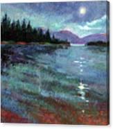 Moon Over Lake Pend Orielle Canvas Print