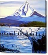 Mount Hood Over Wintler Beach  Canvas Print