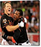 Nick Hundley and Adam Jones Canvas Print
