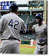 Omar Infante and Billy Butler Canvas Print