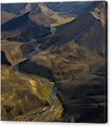 Over Iceland Highlands Hills Of Rhyolite Canvas Print