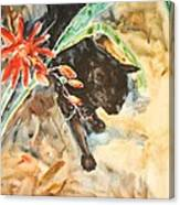 Panther With Passion Flower Canvas Print