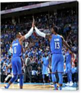 Paul George and Russell Westbrook Canvas Print