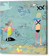 People on the beach having fun Canvas Print