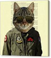 Pilot cat portrait on antique book page Canvas Print