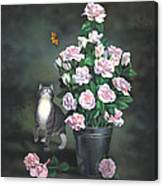 Playing Among The Roses Canvas Print