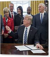 President Trump Signs Executive Order In Oval Office Canvas Print